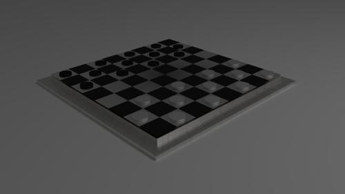 Checker board with checker pieces preview image