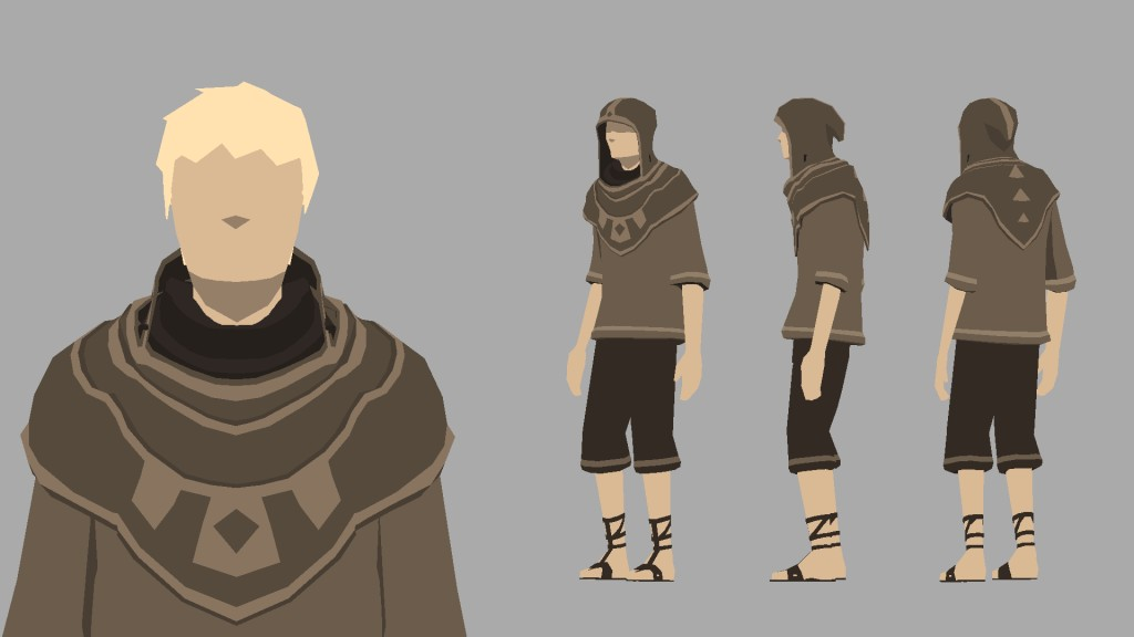 Low-poly flat-shaded hood character rigged and animated preview image 1
