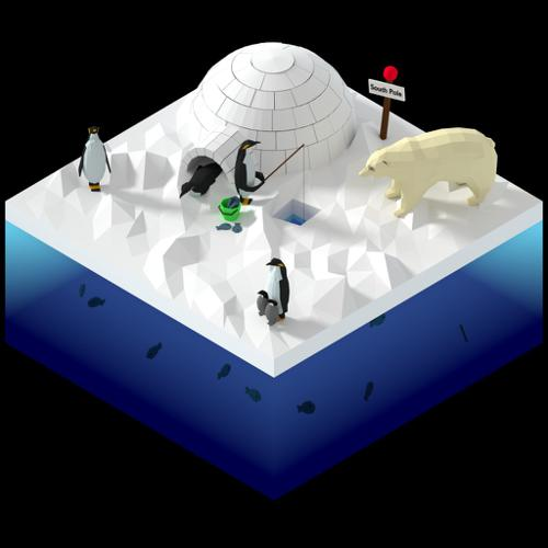 Isometric Low Poly SouthPole Scene preview image