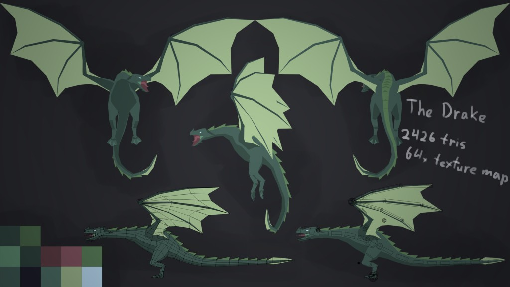 Low Poly Rigged Dragon preview image 1