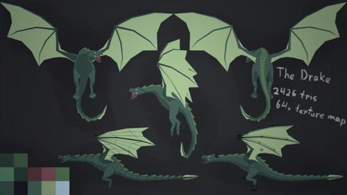 Low Poly Rigged Dragon preview image