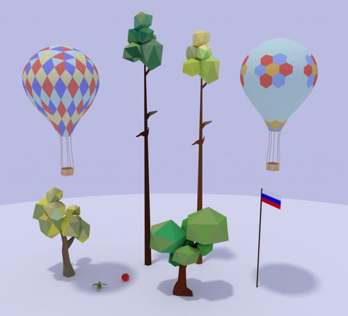 Low Poly objects preview image