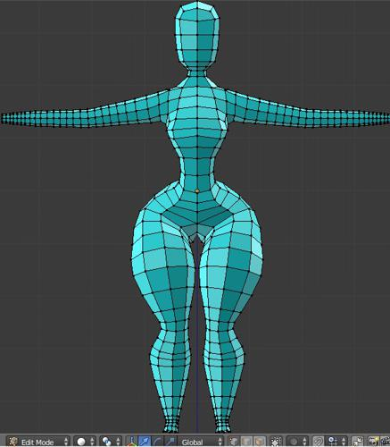 Curvy female basemesh (no hands/feet) preview image