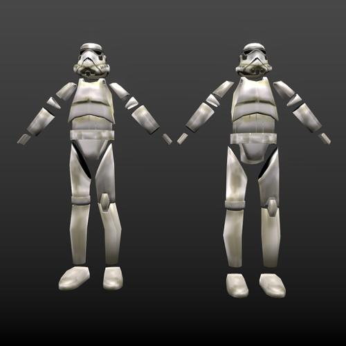 Low poly game ready StormTrooper armor preview image