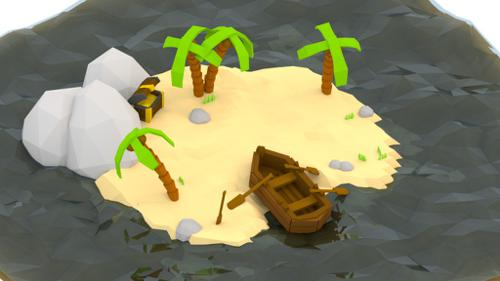 Deserted low poly island preview image