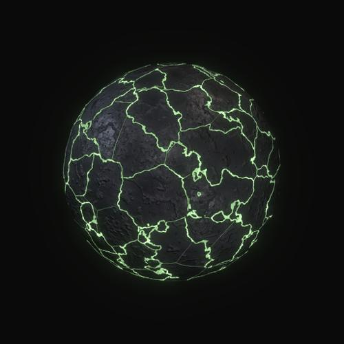 Procedural cracked glowing stone material preview image