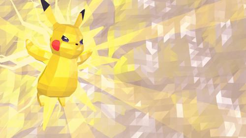 Pikachu low poly background!!!!  preview image