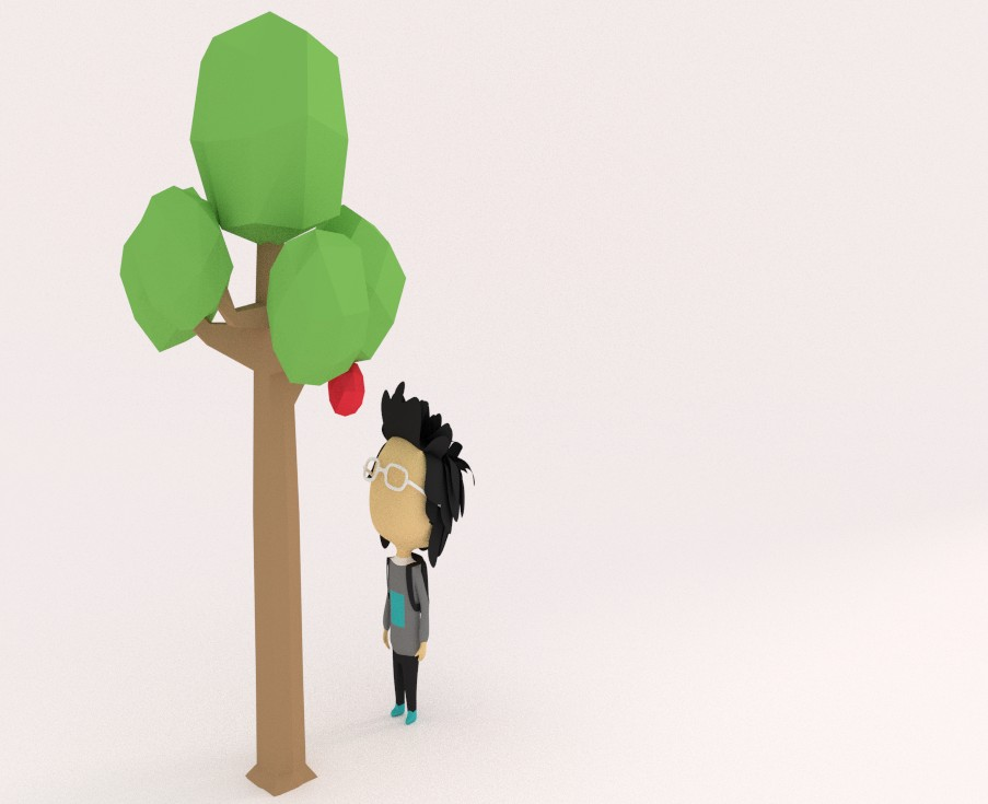 Low poly male & tree preview image 1