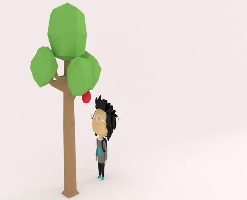 Low poly male & tree preview image