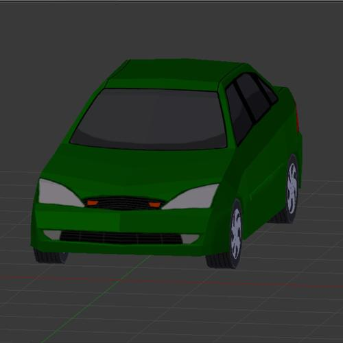Ford Focus 2000 Low Poly Car preview image
