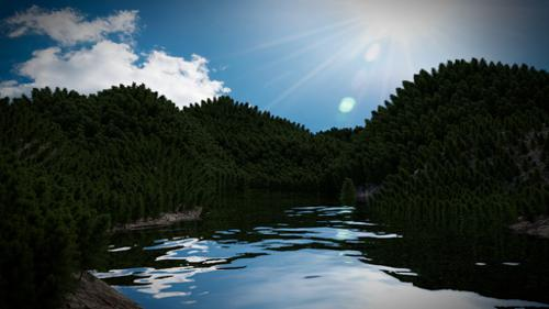 Forest with Lake Scene preview image