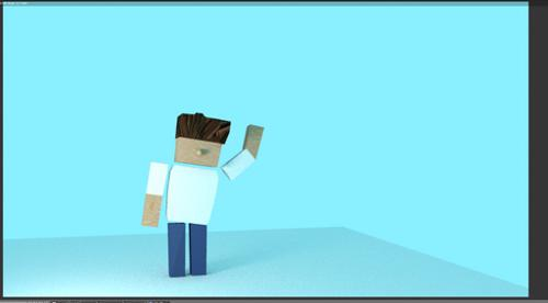 Blocky Man Low Poly Textured Rigged preview image