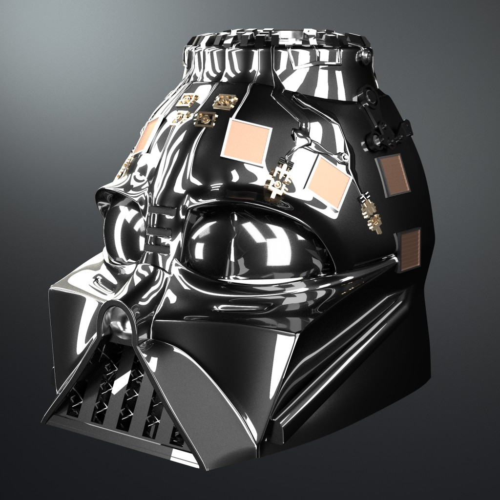Darth Vader Helmet and Shoulders [High Poly] preview image 3