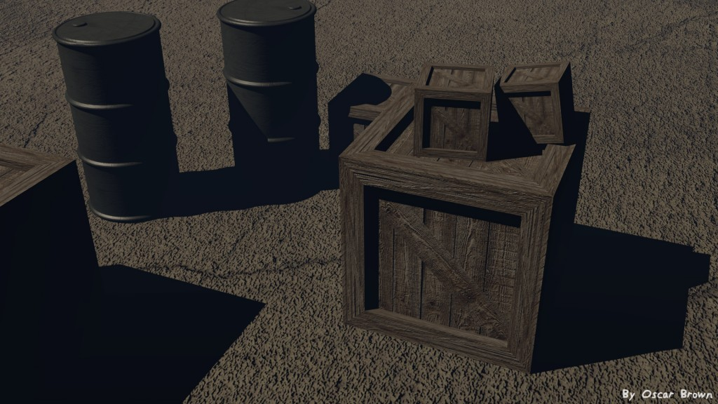 Wooden Box Low Poly preview image 2