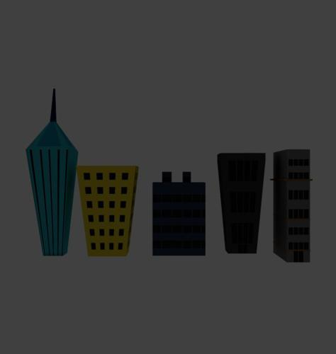 Low Poly Cartoony Skyscrapers Pack preview image