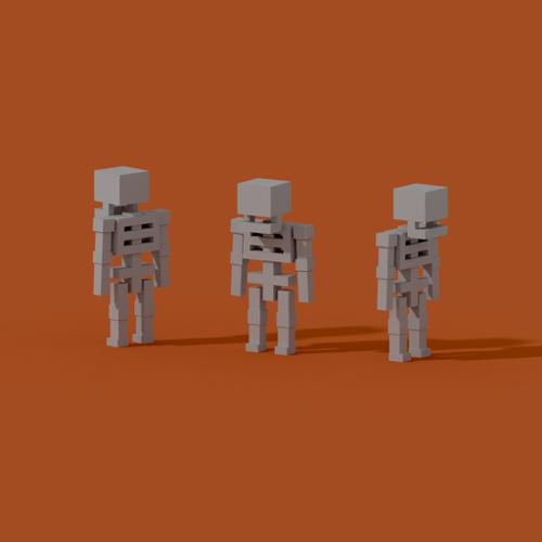 Low poly skeleton preview image