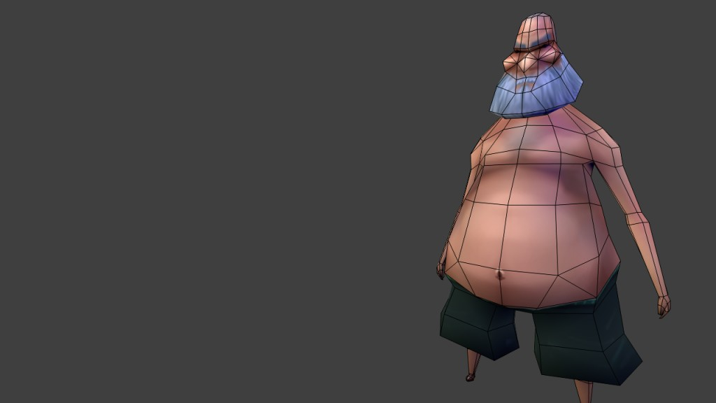 Low Poly old fat dude preview image 2