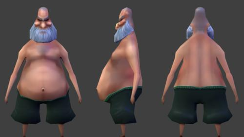 Low Poly old fat dude preview image