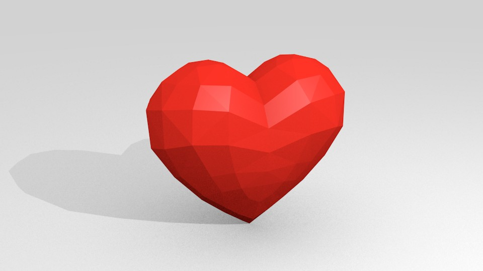 Low-poly heart preview image 1