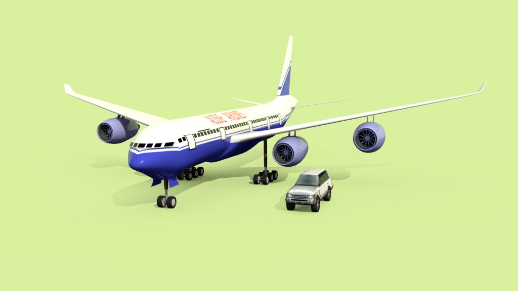 Low poly range rover and airplane preview image 1
