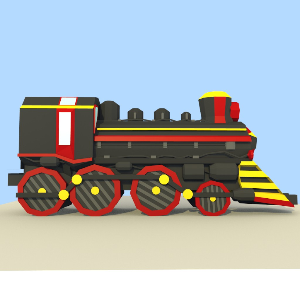 Low Poly Steam Train preview image 2
