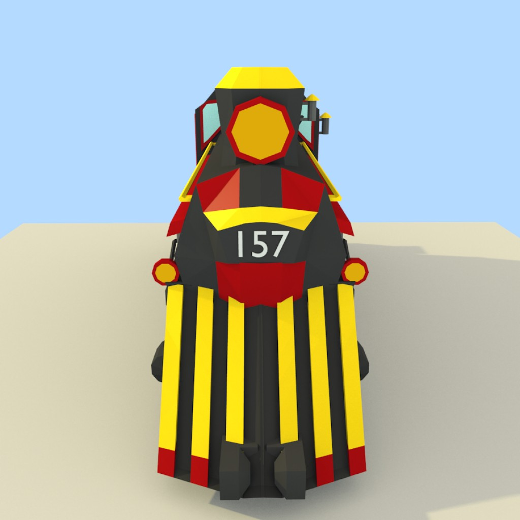 Low Poly Steam Train preview image 3