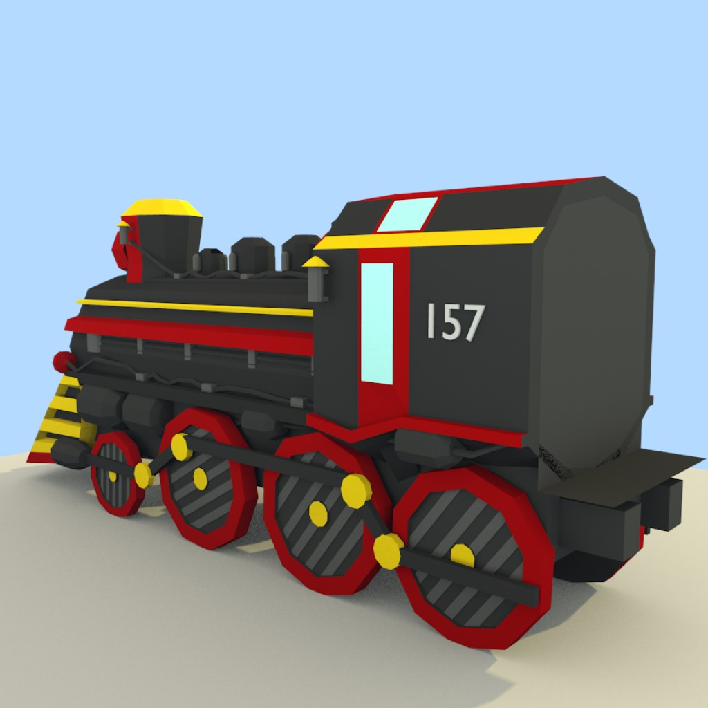 Low Poly Steam Train preview image 4