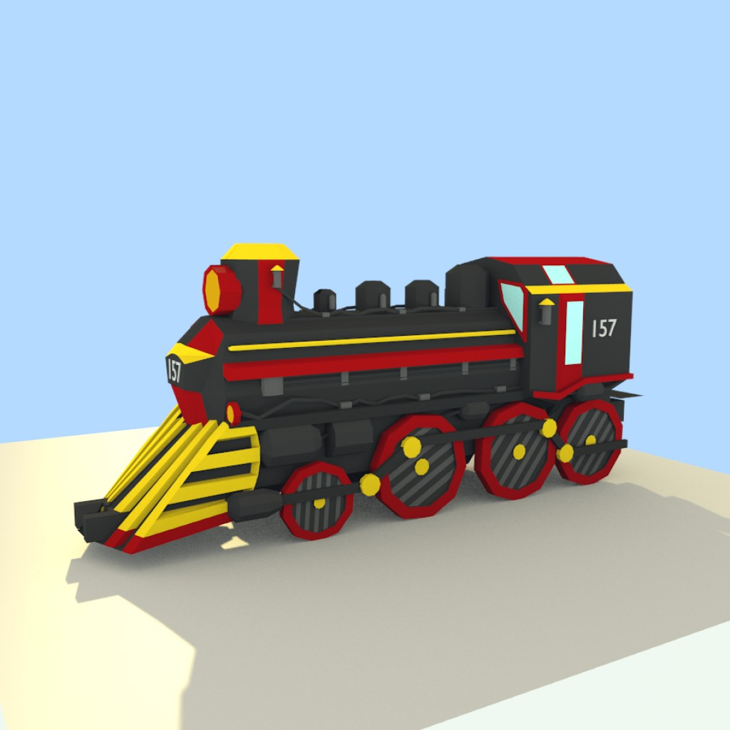Low Poly Steam Train preview image 1