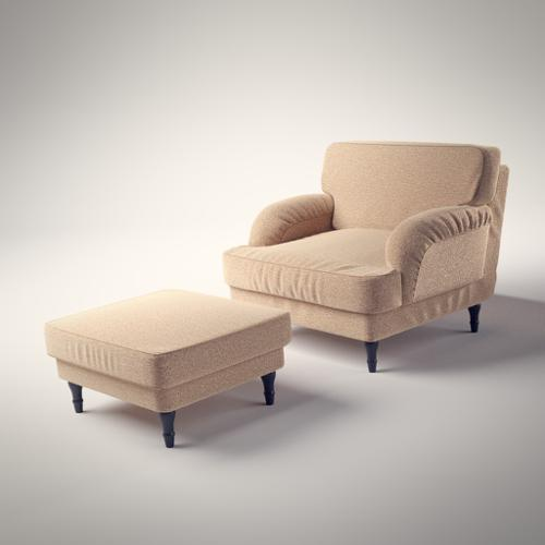 Armchair with footstool based on Ikea's Stocksund  preview image