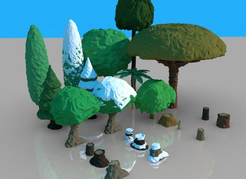 low-poly tree pack preview image