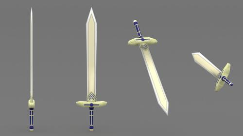 Hand painted low poly sword preview image