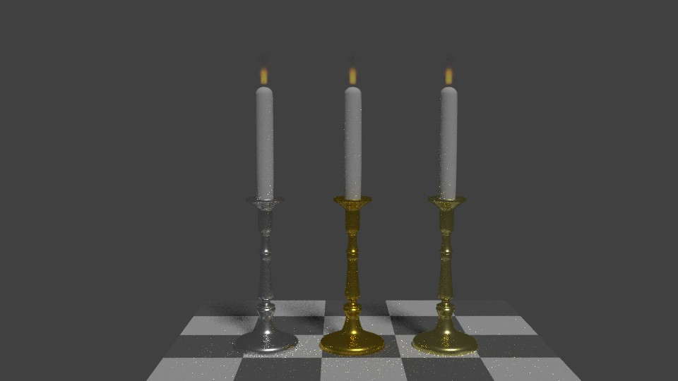 Three Low Poly candle holders with flame preview image 1