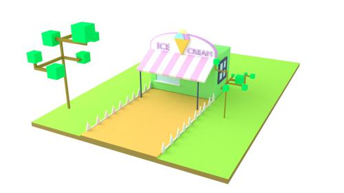 Low poly ice cream stand preview image