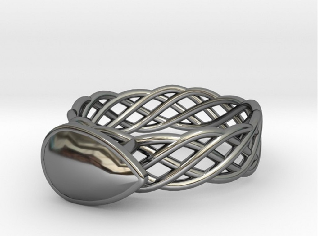 Torus Knot Plus Ring 17.53mm with Pear Gem preview image 1