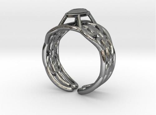 Cylindrical Helix Curve Ring 17.53mm with Marquise Gem preview image