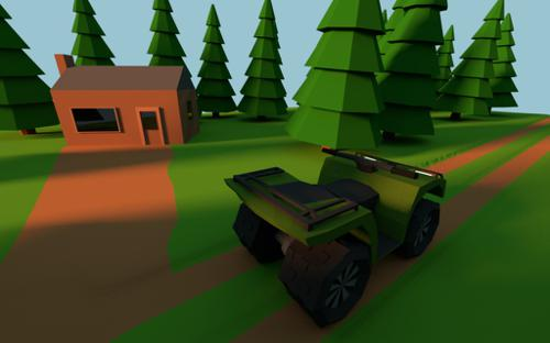 Low poly 250 ccm Quad in the Forest  preview image