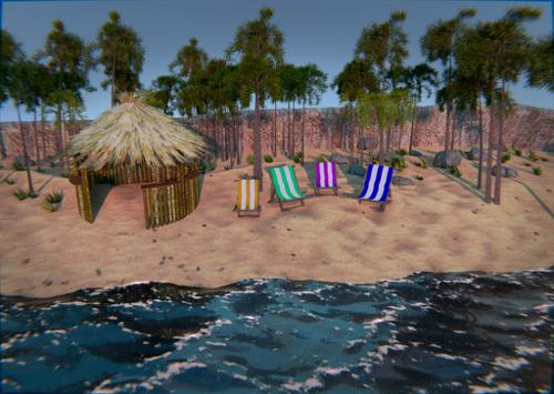 Beach with Tiki Hut, Palm Trees and Beach chairs preview image