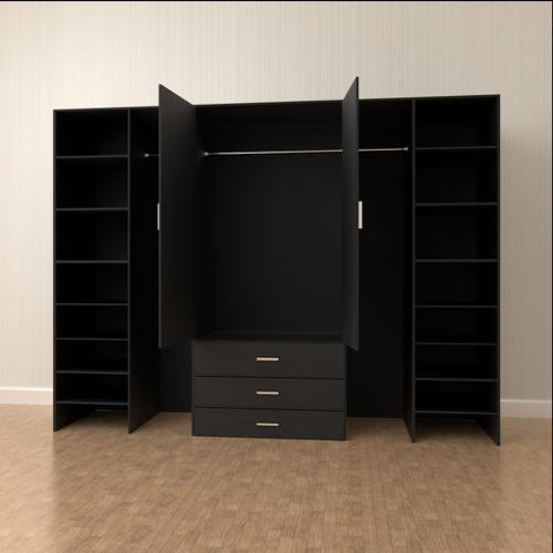 Large Black Wooden Wardrobe preview image