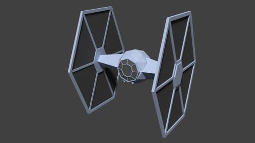 Low Poly TIE fighter preview image