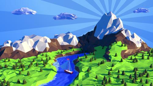 Low poly landscape preview image