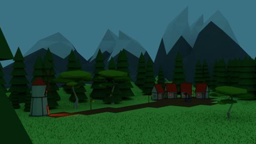 Low Poly village scenery v1 preview image