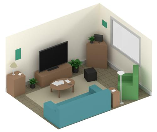 Low Poly Living Room preview image