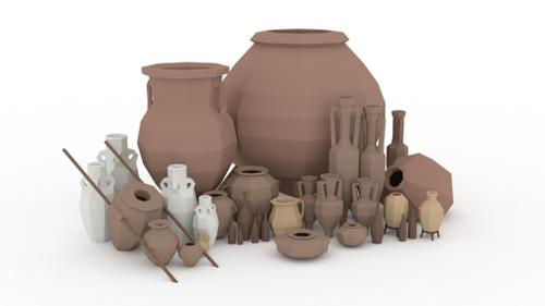 Low Poly Clay Containers preview image