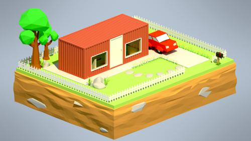 Shipping Container House (Low Poly) - Animated preview image