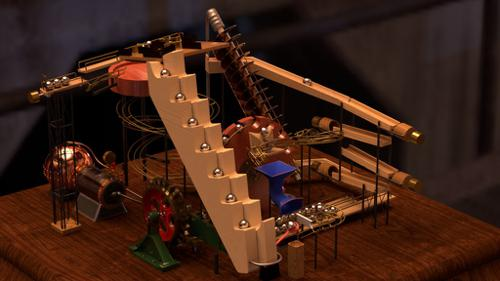 """Sisyphus Engine No. 1"" physics based marble machine animation preview image"