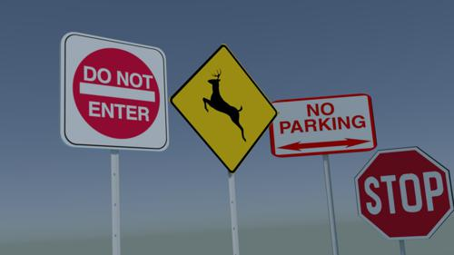 Traffic Signs - UV Unwrapped and UVs provided preview image