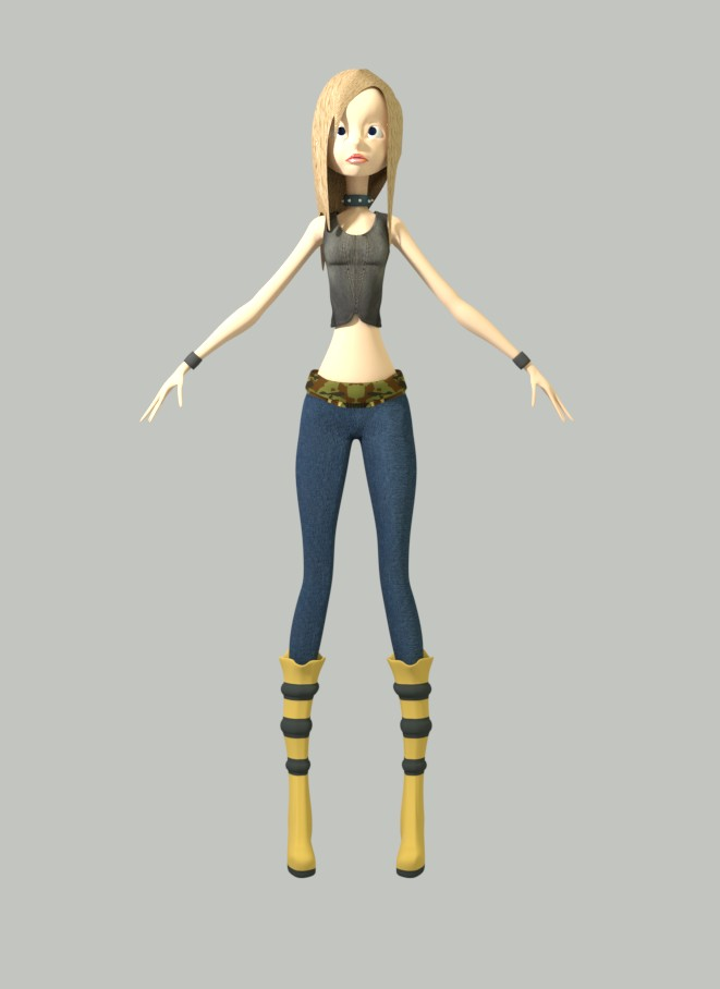 Cute Girl Cartoon Character - Rigged & Textured preview image 6