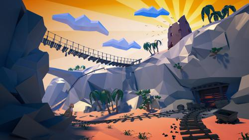 Low poly desert canyon preview image
