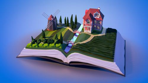 Low poly book landscape preview image
