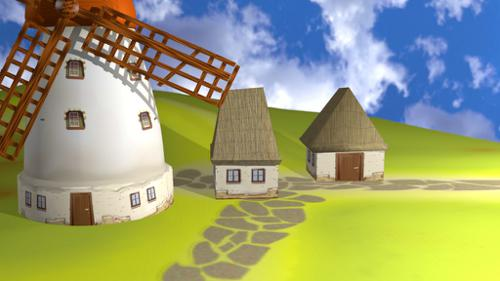 Cartoon windmill and house preview image